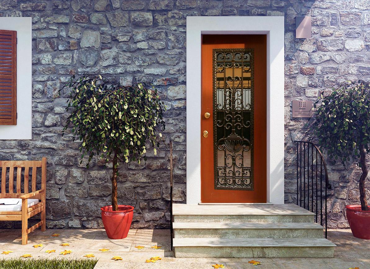 Elegante porta blindata marrone e disegni ferro